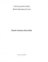 ŠKOLSKI KURIKULUM 2019-2020